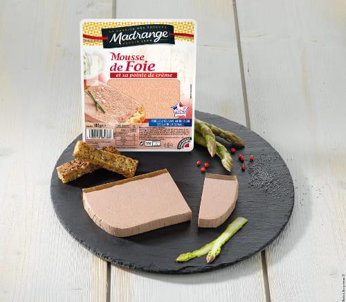 Assiette mousse de foie de porc et sa pointe de crème