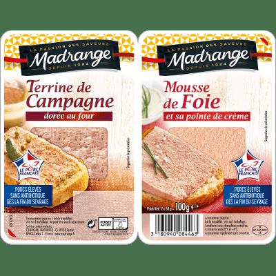 Terrine de campagne <br>dorée au four & mousse de foie <br>et sa pointe de crème <br>2 x 50g