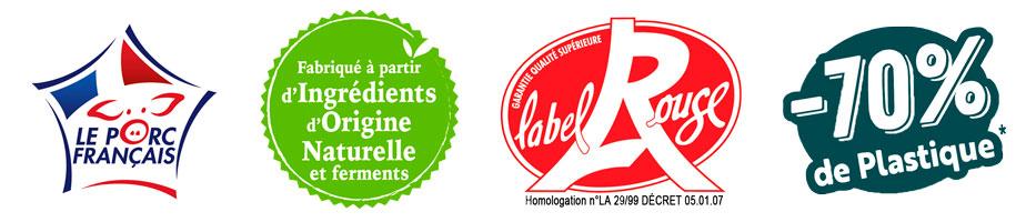 Logos VPF, Ingrédients naturels, Label Rouge et plastique
