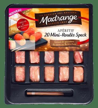Mini-roulés speck, <br>écrasé de pommes de terre <br>au Reblochon