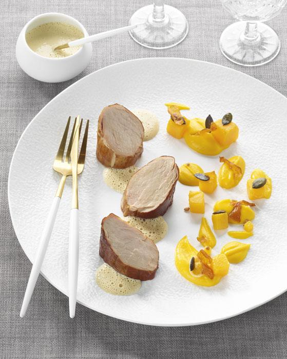Recette gastronomique de filet mignon de porc avec une sauce au foie gras