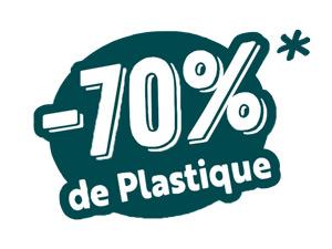 Logo -70% de plastique