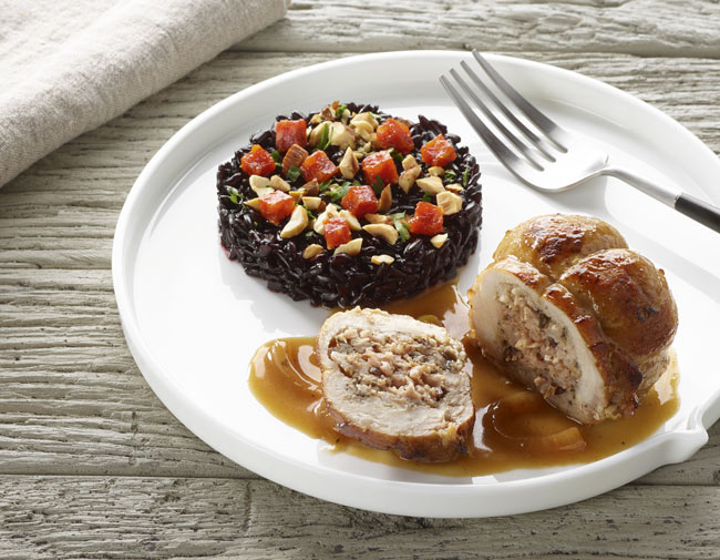 Paupiettes de porc et riz noir au chorizo