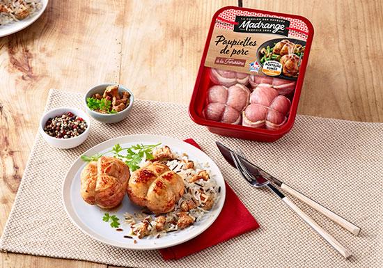 Paupiettes de porc accompagnées de riz blanc
