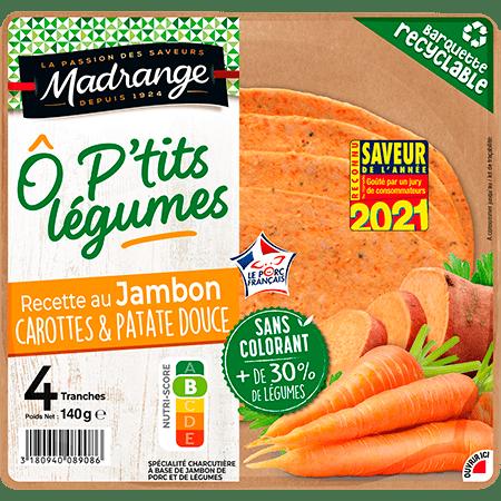Recette au jambon <br><i>Carottes & patate douce</i>
