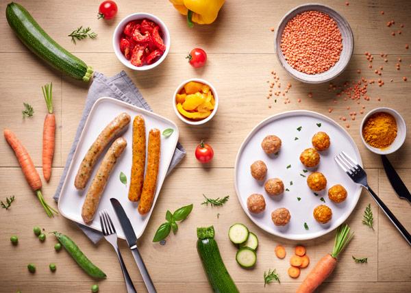 Photo de la gamme de saucisserie Ô P'tits Légumes